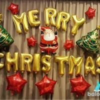 Balon Foil Merry Christmas set gold