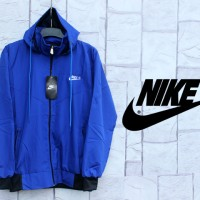 Jaket Parasut Nike Full Biru (Hoodie-Sport-Resleting-jas-Kerudung)