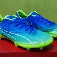 sepatu sepak bola puma evospeed fresh biru hijau fg grade ori import