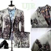 Blazer Pria Set (Include Jaket+Shirt+Pants) Motif Merak & Birds