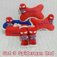 Bantal Mobil Set 3 Spiderman Red