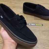 Sepatu Vans Zapato Classic Del Barco Black - Gum Brown Premium Hitam