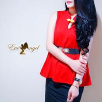 Peplum Qipau Top - baju atasan chinese sincia merah