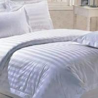 bed cover set hotel edition putih polos salur sprei ukuran 160x200
