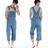 Baju kodok pria overall jeans korea men preorder werpak jumper tebal