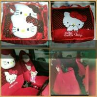 Sarung Jok Khusus Mobil Agya/Ayla Motip Hello Kitty Merah Bintik Hitam