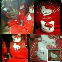 Sarung Jok Khusus Mobil Agya/Ayla Motip Hello Kitty Merah Bintik Putih