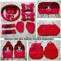 Sarung Jok Khusus Mobil Agya/Ayla Mickey Mouse Merah Bintik Hitam