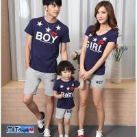 kaos keluarga boy girl baby lengan pendek - baju family couple