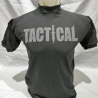 tactical t-shirt dark grey lengan pendek cotton combed 20s