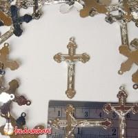 Bandul Salib /Cross Logam Nikel Besar - Souvenir Kalung Rosario /Ganci