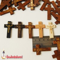 Bandul Salib Kayu Siluet Jesus - Kalung/Gelang Rosario Gantungan Kunci