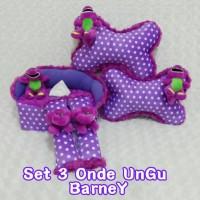 Bantal Mobil Set 3 Love Ungu Barney