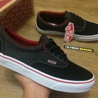 Sepatu Vans Era Pro BLack Grey Red Denim DT Premium Hitam