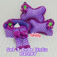 bantal mobil set 3 Barney Love Ungu
