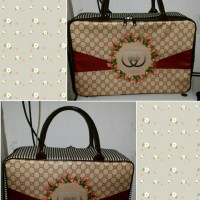 Travel Bag Kanvas Gucci Bunga