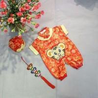 Baju fashion anak bayi cowok laki laki Imlek baby qipau macan gold red