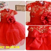 Baju fashion anak cewek perempuan cina CNY Red Dress Sleeve imlek