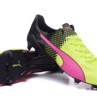 Sepatu bola Puma evospeed SL FG Yellow-Black-Pink Grade Ori