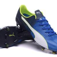 Sepatu bola Puma evospeed SL FG Blue-Black-White-Green Grade Ori