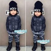 baju setelan fashion anak senshukei 4in1 celana army pant kupluk dasi