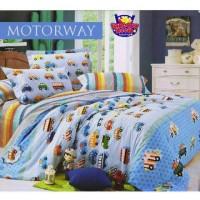 bed cover set motif anak cars warna biru sprei ukuran 160x200