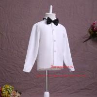Kemeja polos putih lengan panjang untuk anak laki-laki dan 1 dasi kupu