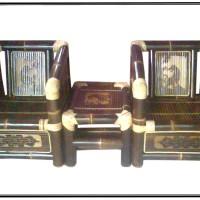 Meja Kursi Bambu - Set Teras