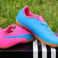 sepatu futsal Puma Evo Power Pink Biru Anak (murah,keren,terbaru,new)