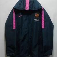Jaket Hoodie taslan waterproof anthem Barcelona 14/15 navy