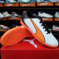 Sepatu Futsal Puma Adreno IT White Orange