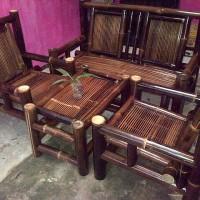 kursi bambu hitam setelan tinggi