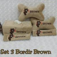 bantal mobil set 3 bordir Brown Coklat