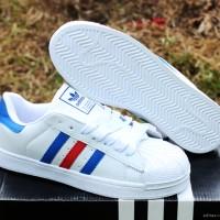 Adidas Superstar Putih Strip Biru(sepatu kets,wanita,sekolah,casual)