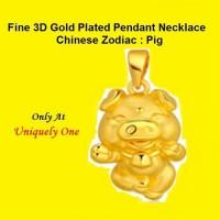 LIONTIN KALUNG EMAS / GOLD PLATED PENDANT NECKLACE - BABI PIGGY PIG 3D