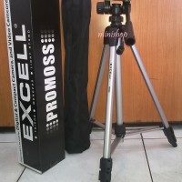Tripod Penyangga Kamera Excell Promoss Silver + TAS Murah