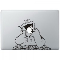 048 macbook decal sticker vinyl aksesoris laptop cookie monster