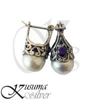 Anting Earrings Perak Silver Bali 925 Motif Ukir Jantung Hati biru