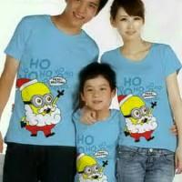 Family Couple / Baju Pasangan / Kaos Keluarga 1 Anak Biru minion 8564
