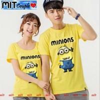 Kaos Couple Lengan Pendek / Baju Pasangan Minion kuning