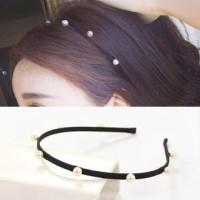 bando hitam mutiara/ headbands pearl black JBA001