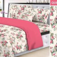 bed cover set motif bunga mawar warna pink ukuran sprei 160x200
