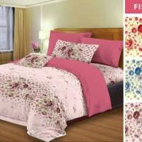 bed cover set motif bunga warna merah ukuran sprei 160x200 queen size