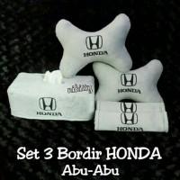 Bantal Mobil Set 3 Bordir Honda Abu-Abu