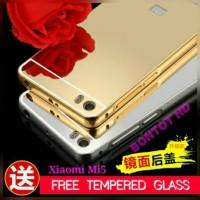 [paketan] ALUMUNIUM MIRROR CASE COVER + TEMPERED GLASS XIAOMI Mi5 Mi 5
