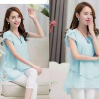blue tessa / blouse biru muda / atasan wanita biru