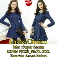 Pakaian wanita dress korea warna biru dongker (Dress Omizu)