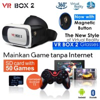 VR Box 2 +T3+V02 - w/Magnetic Button, Google Cardboard glasses