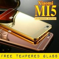XIAOMI MI 5 BUMPER ALUMINIUM MIRROR CASE + TEMPERED GLASS MI5 M5 PRO