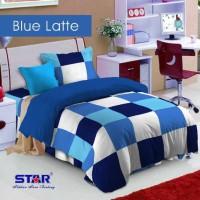 bed cover set motif kotak warna biru ukuran sprei 200x200